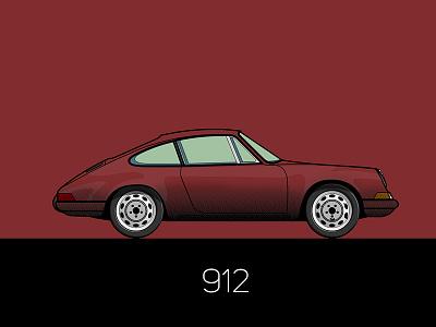 912 flat car porsche illustration