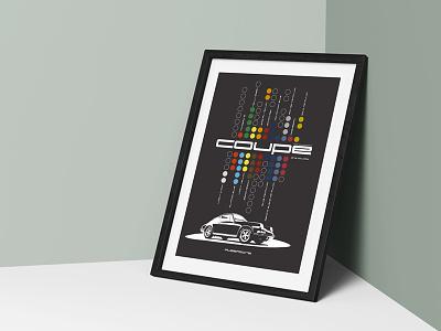 Aubergine poster car illustration 911 porsche