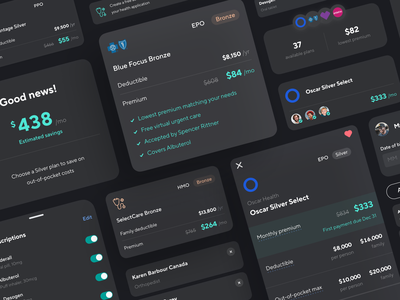Health toolkit ios mobile dark mode design language toolkit designsystem ux ui card product financial savings components health insurance design fintech benefits catch