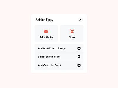 Add Sheet cards ui card ui card photo sheets modal box modal image file calendar select take photo scan camera icon icons ux ui sheet add