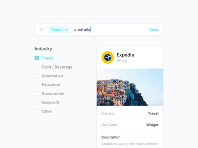 Search by Industry stackla expedia travel widget tile card search bar search advanced search tag ui design search box checkbox
