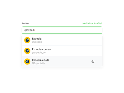 Select Twitter Profile web ui hover ui stackla search ui search bar search dropdown ui expedia twitter select profile dropdown select