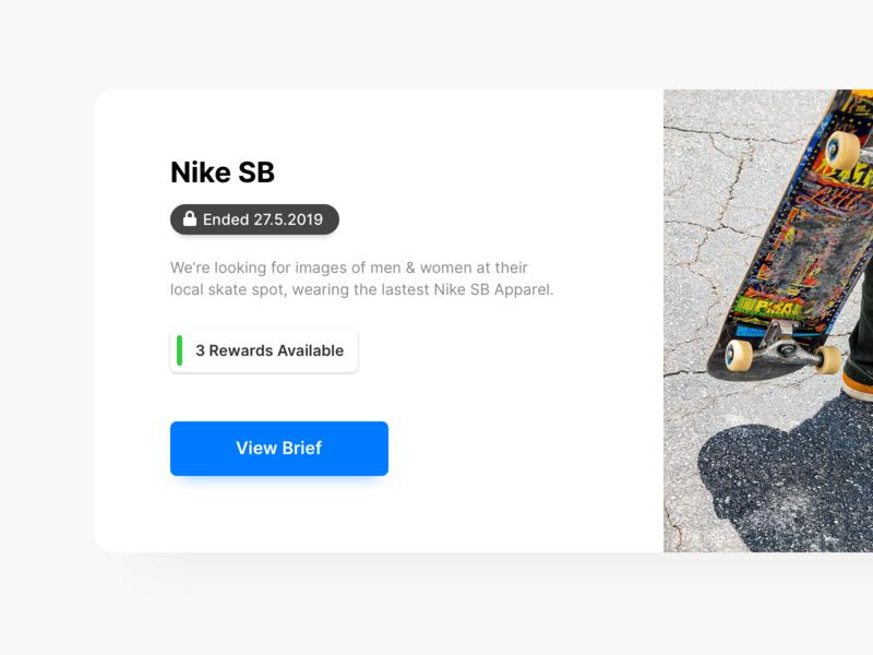Expired Brief web ui minimal design card nike sb nike desktop stackla brief expired