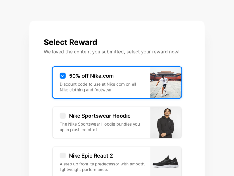 Select Reward selected modal card design choose checkbox selection selector ui nike stackla reward select