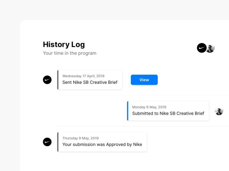 Timeline ux history log card design view stackla nike ui timestamp timeline history
