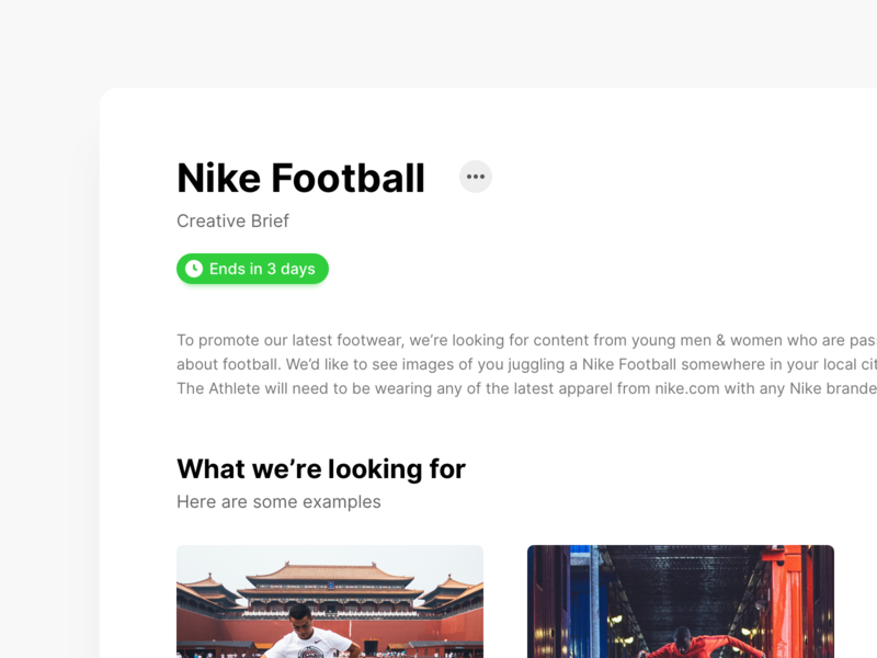 Creative Brief web design user experience user interface creative brief product design stackla ui card description football nike content brief