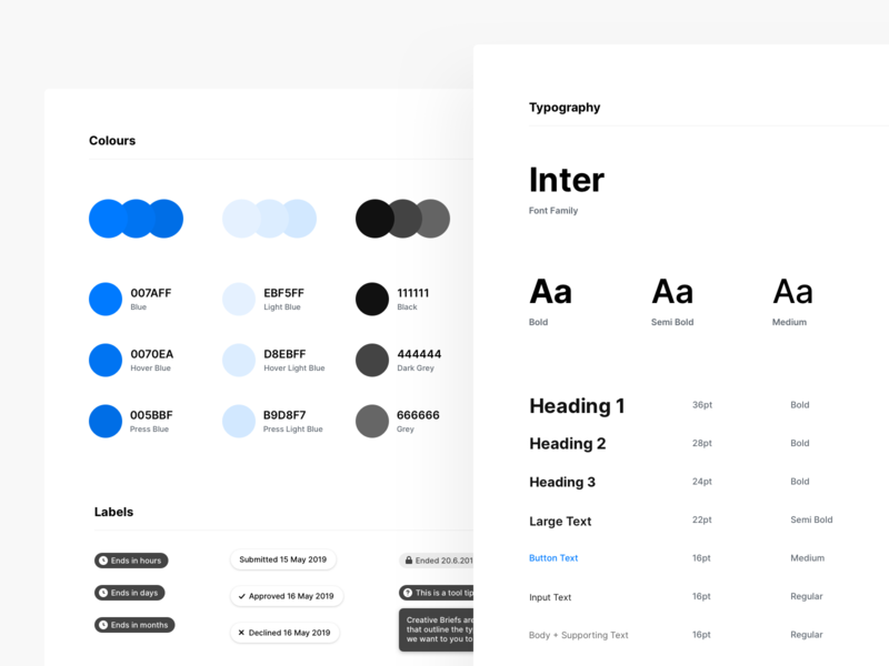 Style Guide interface dashboard ux labels colors typography web component library ui kit ui design system guide style styleguide