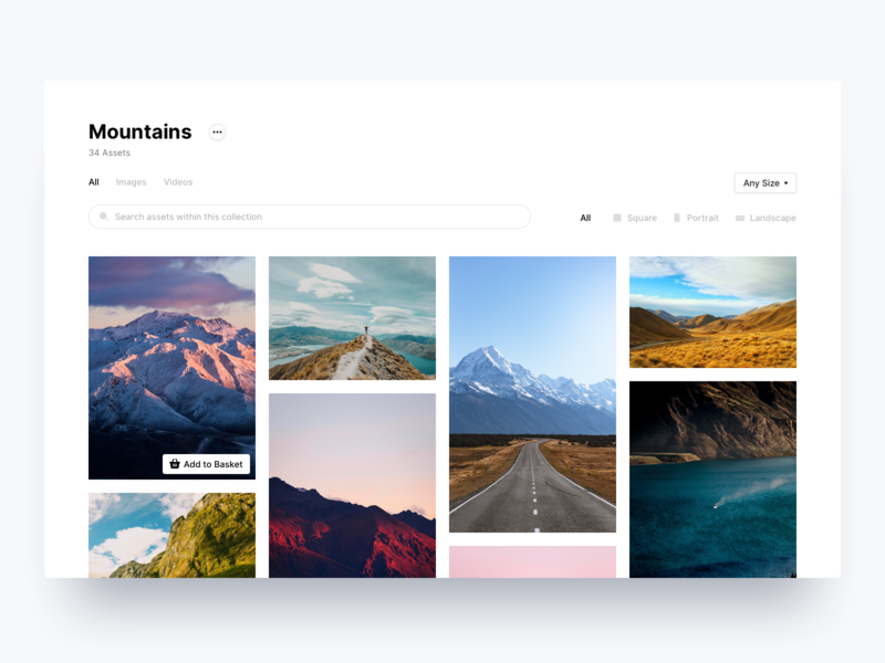 Asset Library media filter search ux collection library assets photos images card desktop stackla ui