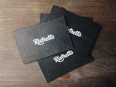 Ristretto Cards studio agency print lettering logotype dark texture branding identity handwritten typography business card