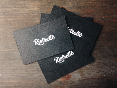 Ristretto Cards studio agency print lettering logotype dark texture branding identity handwritten typography business card