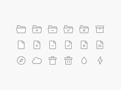 Icons Preview cloud paper folder ui filled line illustration shadow simple icons icon