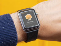Apple Watch Rebound simple clean photography mockup yellow orange dark app map nearby location apple watch