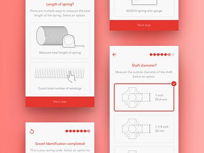 SpringTime walkthrough steps iphone red white ios ux illustration app ui clean