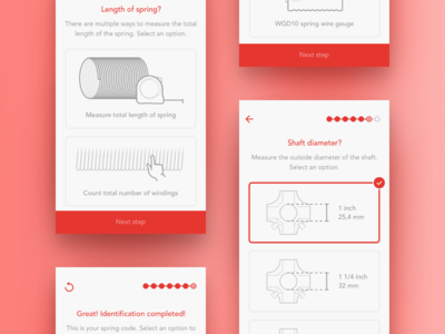 SpringTime walkthrough steps iphone red white ios ux illustration app ui clean