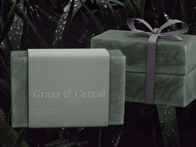 Grass & Cereal Bar Soap serif typography branding rebound mockup design figma