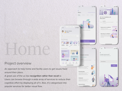 Home - Mobile App for Facility Management services plumbing service handyman clean ux ui ui ux user figma design