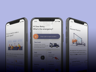 🚗 Towing App homepage iphone police report accident emergency tow towing car app figma
