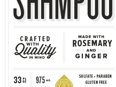 Shampoo label design craft black white drop shadow packaging