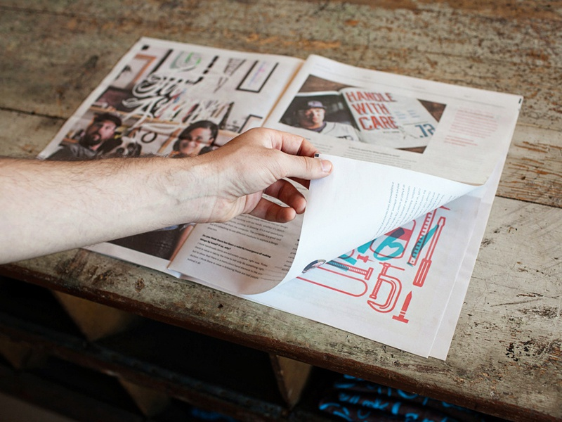 Make Something No. 1 magazine newspaper print layout photography interviews articles two arms