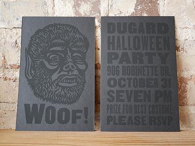 Woof! halloween invitations black css type screen print