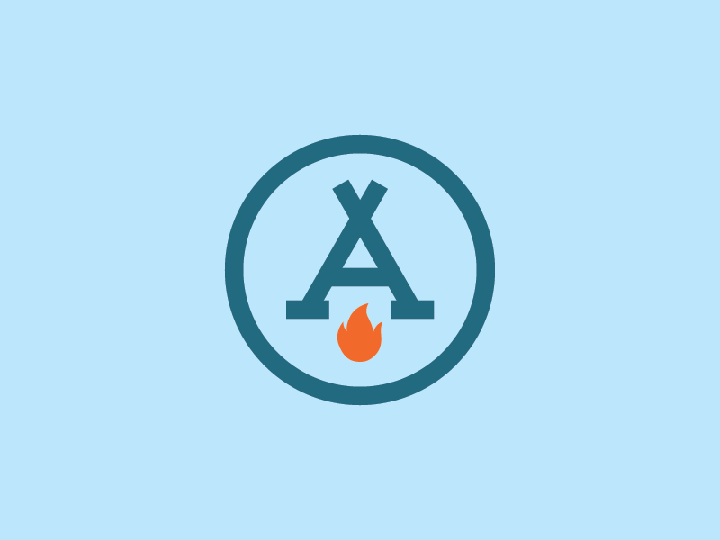 A Camp icon logo tent flame camp