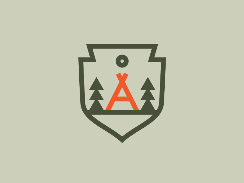 A Tent logo illustration patch seal badge tree tent