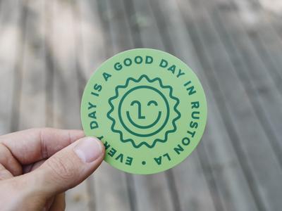 Good Day Grass Green sun type stickermule sticker