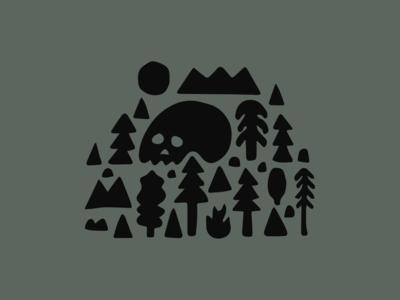 Forest illustration graves mountains trees skull