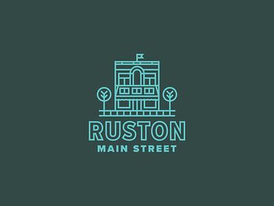 Main Street identity shop flag building tree lines store logo