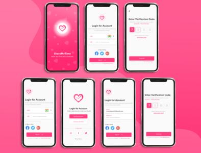 Dating App Design colorful pink heart love app mockup mockup iphone x mobile app application devdesignstudio dating dating app app design app icon vector content ux ui design