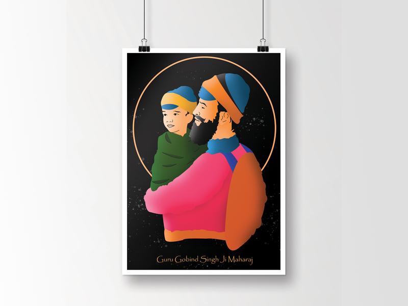 Guru Gobind Singh Ji - Illustration religious sikh charactedesign character concept character art frame adobe illustrator draw adobe adobe illustrator cc web design vector adobe illustration guru guru gobind singh ji illustration