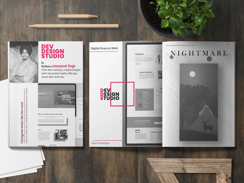Dev Design Magazine brochure mockup brochure design brochure nightmare black red pink magazine mockup magazine design magazine cover magazine content branding ux typography ui design