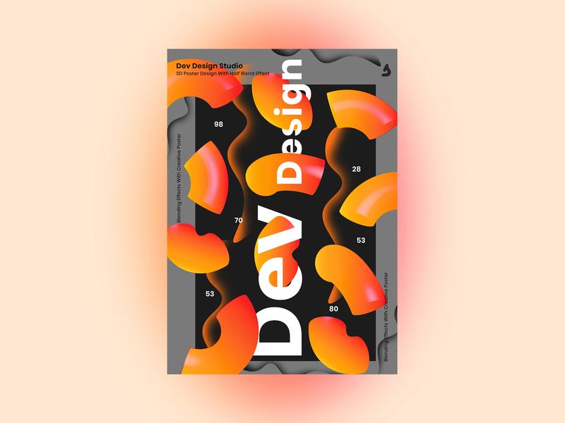 3D Poster 3d art 3d dev design studio gradient black poster baugasm branding illustration content vector typography design