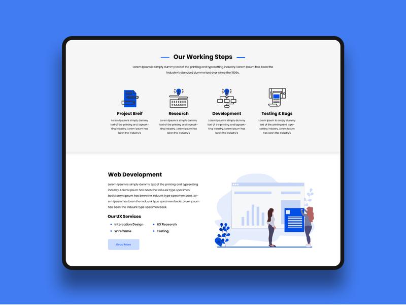 Working Steps web development working process homepage vector content web design ux illustration typography web ui design