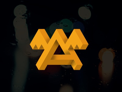 Alogo logo infinity yellow 3d 4d wings