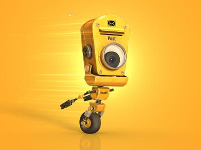 PoustEx robot cartoon yellow animation 3d cgi post mail