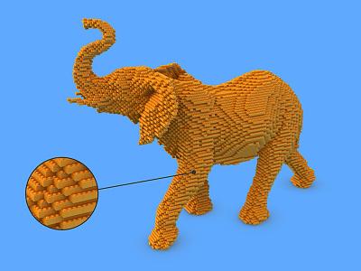 Elephant Lego animation studio baloom nature blue orange cgi 3d lego elephant