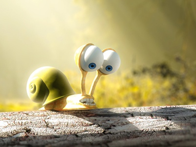Roy snail cartoon cgi 3d character