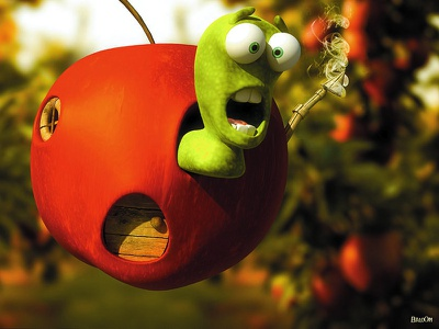 Li at His Home 3d worm green apple red cartoon cgi illustration animation tv