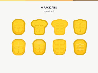 6 Pack Abs Emoji Icon Set