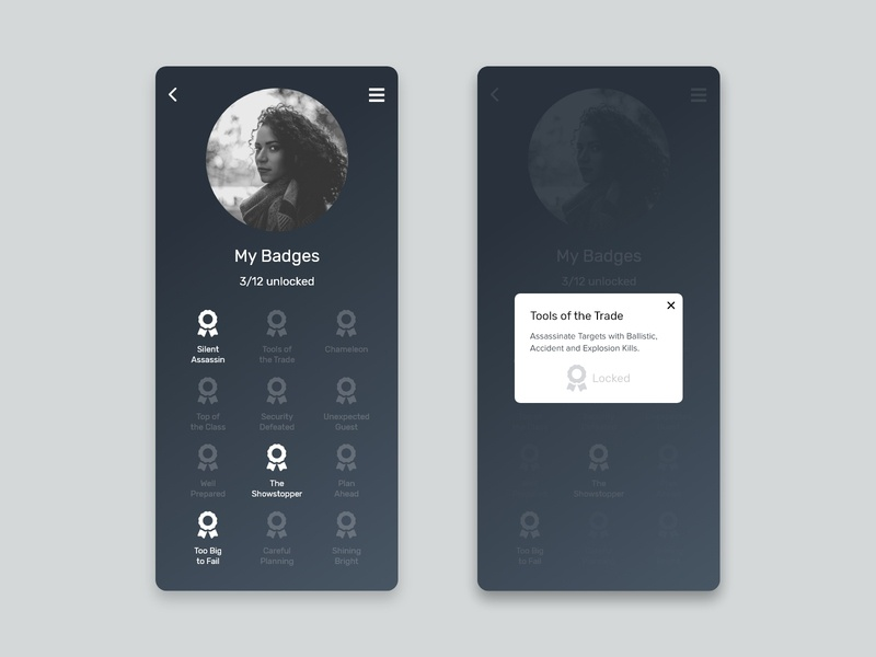 Badge achievements icon typography app xd web unsplash ux ui minimalist design dailyui daily ui concept button adobe xd 084