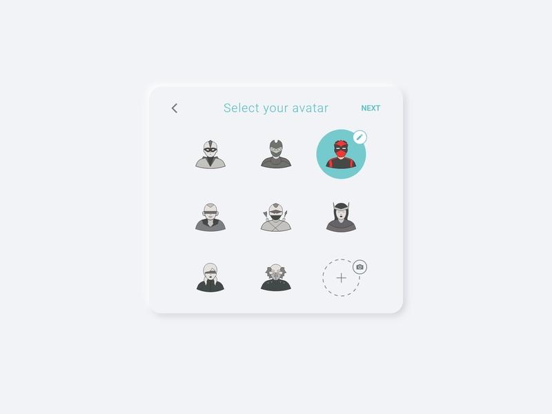 Avatar select xd web ux ui minimalist design dailyui daily ui clean button app adobe xd 088