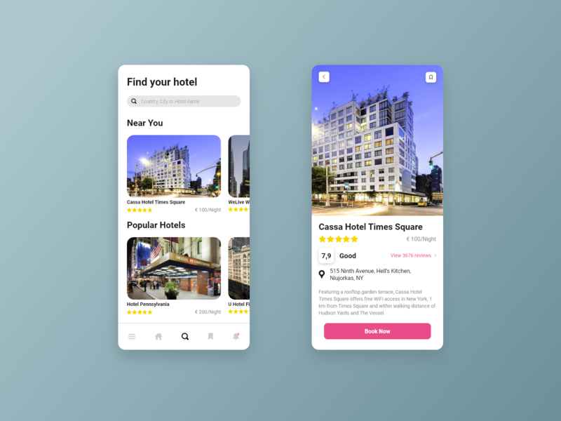 Hotel Booking concept web mobile 067 card flat clean minimalist typography button ux dailyui adobe xd ui daily ui design hotel booking app design app