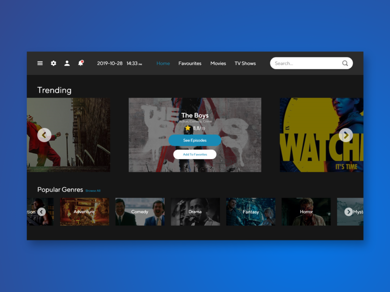 Trending search web genres shows typogaphy movies minimalist ux ui design dailyui daily ui tv concept button app design app adobe xd 069