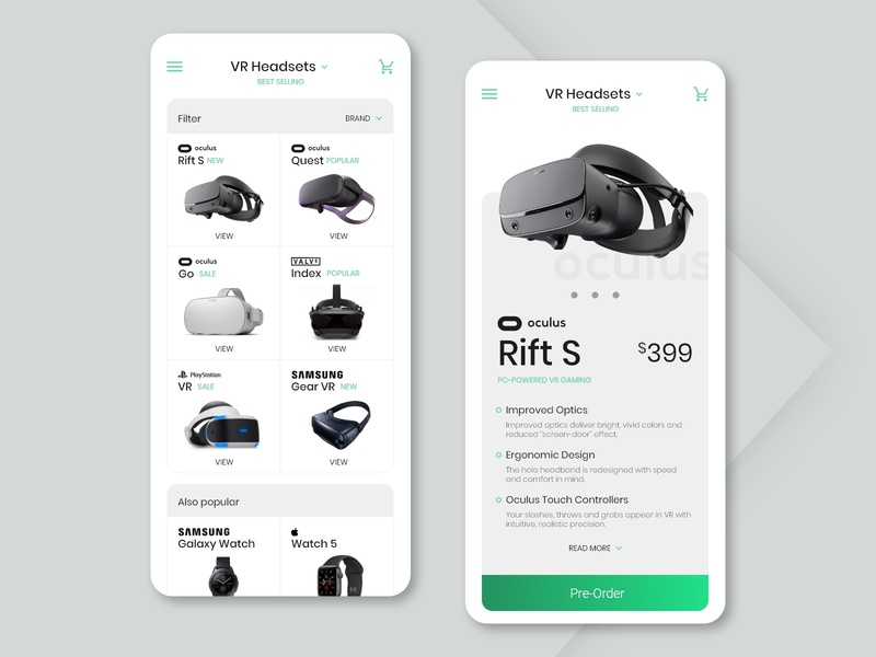 Pre-Order ecommerce oculus headset vr xd web ux ui typography minimalist green design dailyui daily ui concept design button clean white adobe xd 075