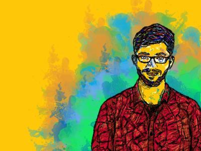 People In My Life : Sajan splatter colours people brother sajan sketching drawing digital portrait