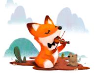 Violinist fox having his recital!