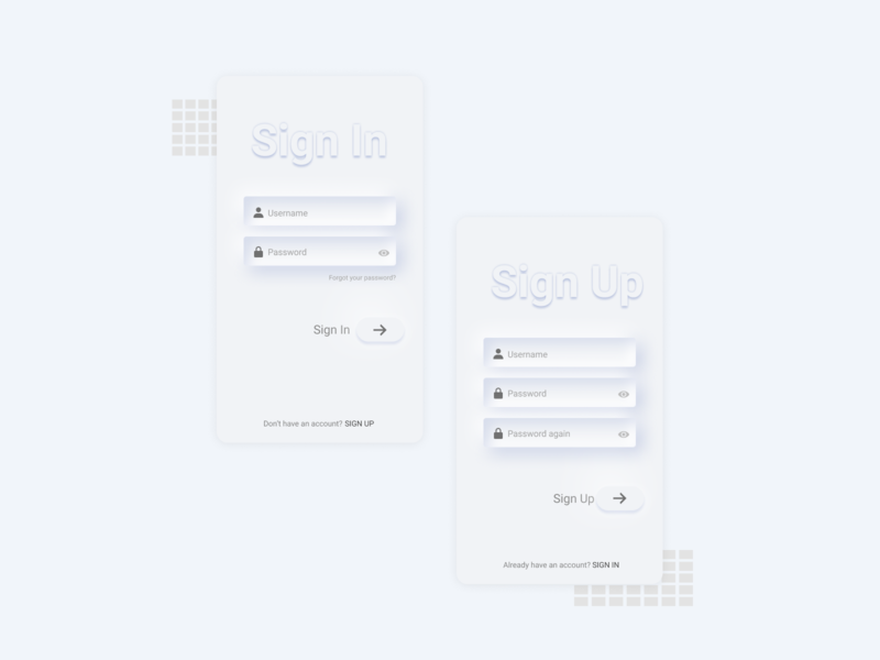 SignIn and SignUp: Soft UI Neumorphism screen
