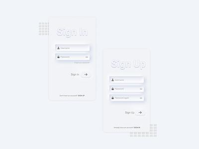 SignIn and SignUp: Soft UI Neumorphism screen ui design login screen design app design gradient ux ux design mobile minimal shadow softui neumorphism login signup signin uiux ui screen app