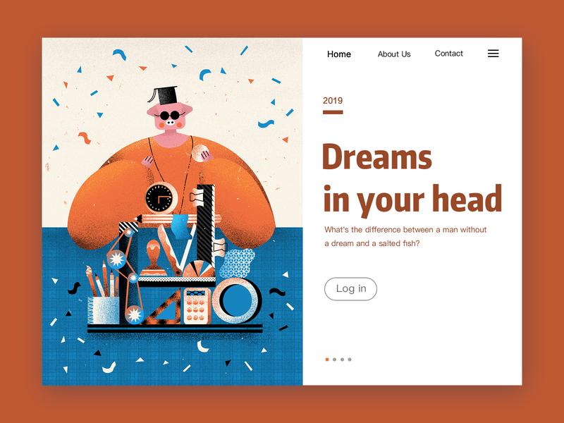 Dream head color pig dream homepage ui illustration design
